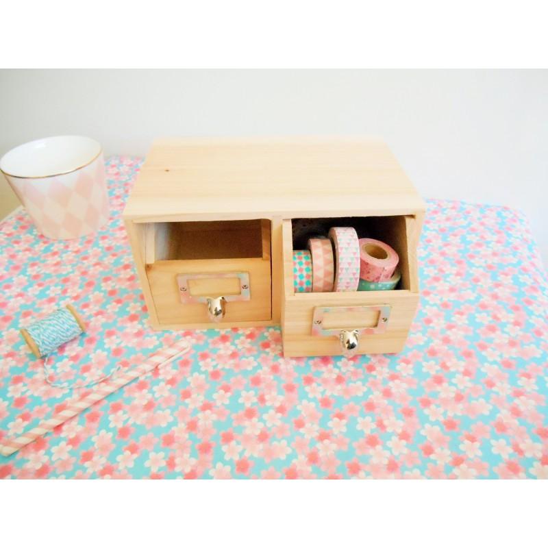 Rangement bureau 2 tiroirs en bois for Bureau bois avec rangement