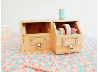 Module de rangement de bureau en bois avec 2 tiroirs