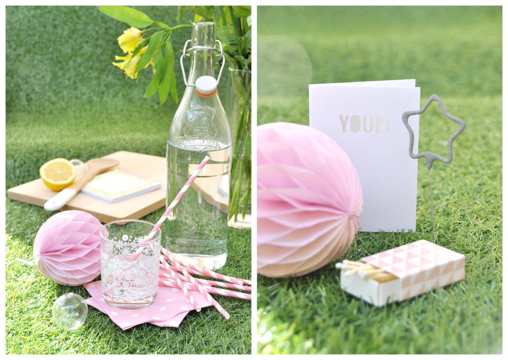 Kit décoration fête : pailles, serviettes, pompons cierges magiques, lanternes papier