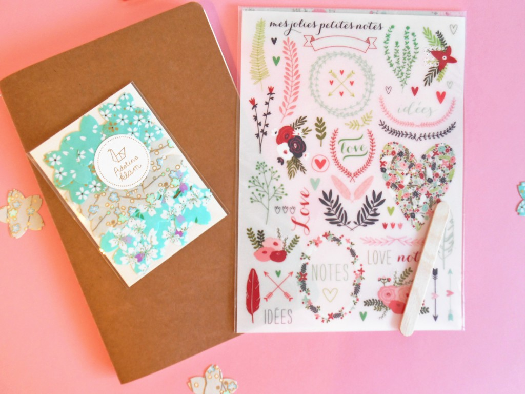 Autocollants fleurs Adeline Klam et transferts pour décorer carnet, cahier, et papeterie