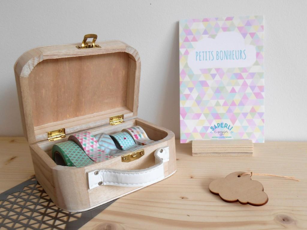 Petite valise en bois pour ranger et organiser les masking tape