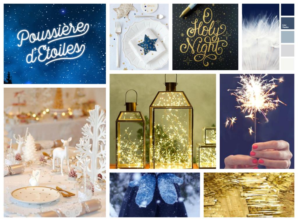 Poussière étoiles papeterie cadeau bleu nuit et or