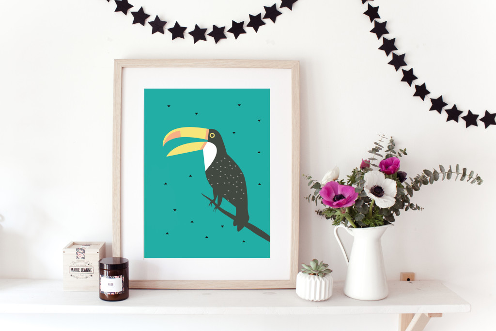 Illustration Toucan Green and Paper