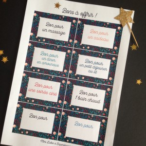 Planche de bons  pour cadeaux Saperlipapier à télécharger