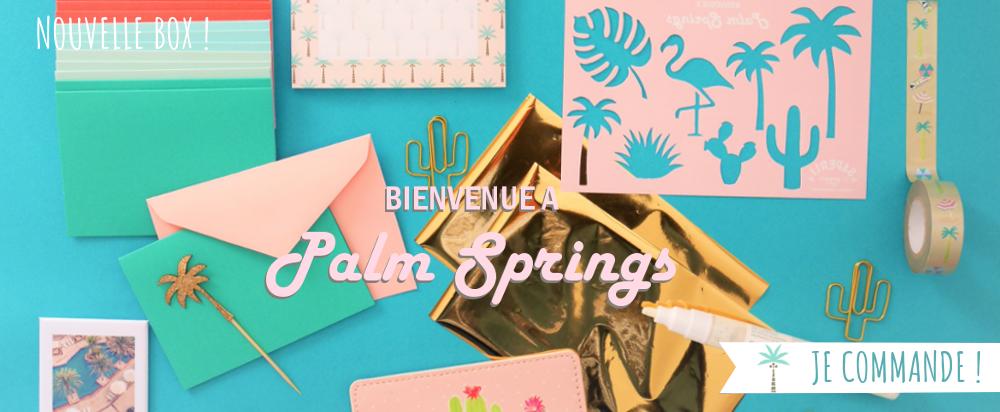Coffret papeterie Palm Springs, rétro, pastel californie,