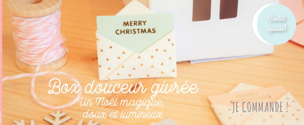 Box papeterie Noël, rose poudré, moufles hiver