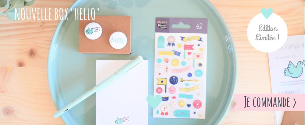 BOx papeterie pastel, écriture, message, enveloppe