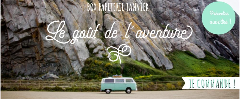 Box papeterie voyage, aventure, road trip, mini van, combi VW, carnet